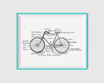 Vintage Bicycle Print, Gifts for Cyclists, Printable Cycling Poster, Bicycle Art, Cycling Print Poster, Cycling Gifts for Dad, Cycling Art
