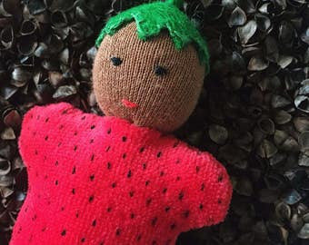 Strawberry doll, Waldorf baby doll, Waldorf doll, pocket doll, Waldorf toys, strawberry, soft doll, for kids, plush toy