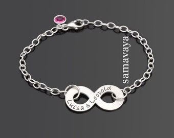 Bracelet with engraved INFINITY 925 Silver jewelry friendship love infinity symbol