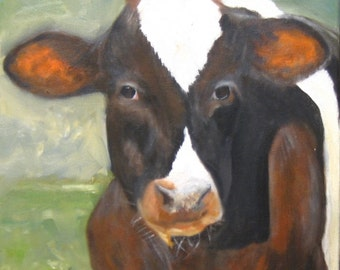 Oil painting of Meditating Cow