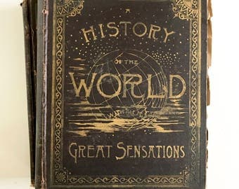 Antique 1800s Collier's History of the world illustrated set of 2 volumes decorative brown hardcover large books shabby chic decor gold gilt