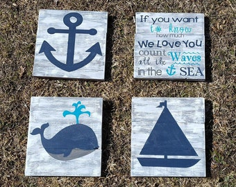 Nautical set of 4, If you want to know how much we love you count all the waves in the sea, nursey sign