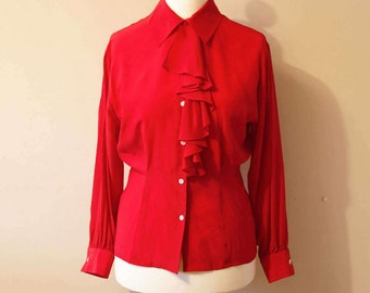 Vintage British tailored shirt with collar and frill ruffle