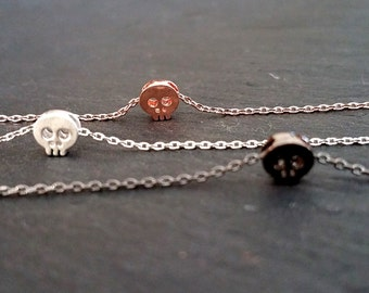 Tiny Skull Necklace,Dainty Layering Necklace, Delicate Charm Gold,Rose Gold,Black,Silver, Mini Skull Necklace