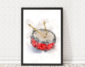 Drums poster watercolor, Drum music art, Drum wall poster, Musician Gift, Music Decor, Music poster, PRINTABLE poster, Musical Instrument