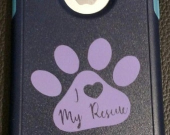 I Love My Rescue Dog Paw decal, iPhone decal, cell phone decal