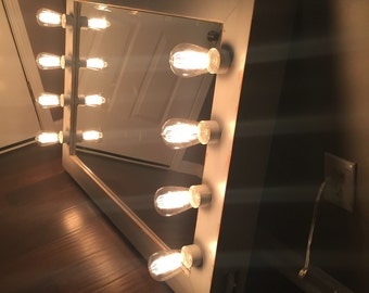 Rustic, distressed, Hollywood vanity mirror with lights and toggle switch // lighted makeup mirror // lighted vanity mirror // gifts for her