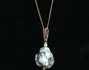 Vintage Turquoise Natural Stone Pendant Necklace 2105