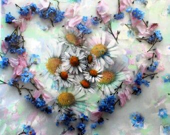 Blank Greetings Card. Flower Art.