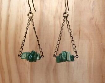 Jade Triangle Earrings