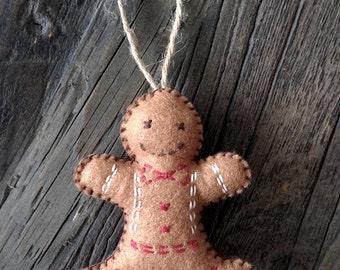 Gingerbread Man Christmas Felt Decoration, Christmas Tree Ornaments, Stuffed Felt Tree Hanging