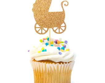 12 CT Baby Carriage Baby Buggy Glitter Cupcake Topper Baby Shower Cupcake Topper First Birthday Cupcake Topper Pink & Gold Birthday