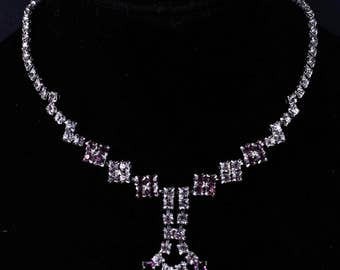 Vintage Purple and White Square Rhinestone Necklace