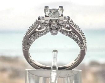 Fleur de Lis 14K White Gold Princess Cut Diamond Engagement Ring