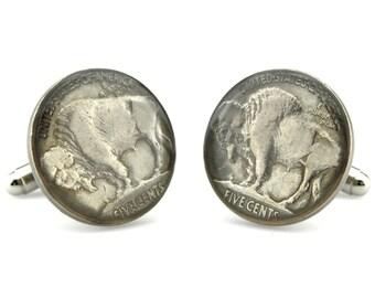 Buffalo Nickle Cuff Links  - Numismatic Cufflinks - 5 Cent Cufflinks - Five Cent Cufflinks - Buffalo Cufflinks - US Coin Cuff links