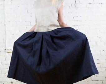 Linen skirt, maxi skirt, long skirt, large skirt, extravagan skirt, midi skirt, comfortable skirt, linen clothes, black linen skirt/LS0001