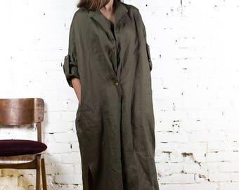 Green linen dress, linen overalls, linen, plus size linen, long linen dress, white linen dress, linen dresses for women, linen tunic/LD0003