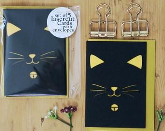 Kitten pack cards, Cat lover card, Papercut cat card, Papercut card pack, Hello card set, Card set, Miniature cat cards, Lasercut cards