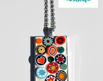 Mosaic pendant necklace Murano millefiori glass vintage look 1 x 2 inches
