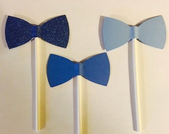 Blue Bow Tie Cupcake Toppers, Gender Reveal, Birthday, Baby Shower- Set of 12