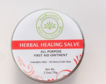 Healing Salve, Boo Boo Balm, First Aid Ointment, Multi-purpose, Natural, Neosporin, Baby, Kids, Antibacterial, Herbal Healing Salve