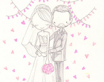 Personalised Wedding Portrait, Cute Customised Couples art, wedding, anniversary, In-law, engagement gift