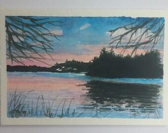 Original Watercolor Art Painting Signed Sunrise Sunset Wisconsin Wheeler Lake Island