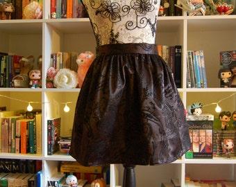 Black Satin Velvet Glitter Gathered Swing Skirt Short Mini 50s 60s Midcentury Handmade Paisley