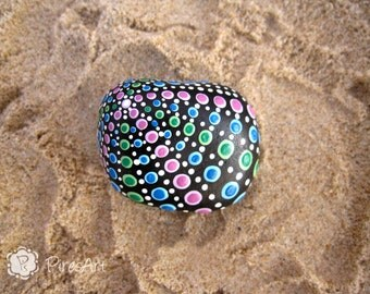 Hand painted rock with acrylic- retro style rock- new house gift- decorated rocks- acrylic painted rock- stoneart- collectible rocks