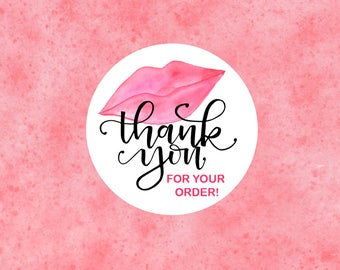 Thank You 2-1/2 Inch Stickers - Round Kiss