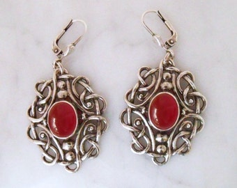 "Silver earrings with carnelian ""Celtic ball tendrils"""
