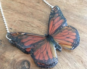 3D Black and Orange Resin Butterfly Necklace