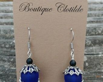 Cobalt Blue and Black Glass Dangle Earrings