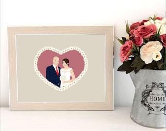 Custom portrait illustration, wedding portrait illustration