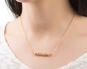 Birthday gift for her stone necklace birthstone necklace dainty gold necklace chain necklace gold filled necklace sunstone necklace for her