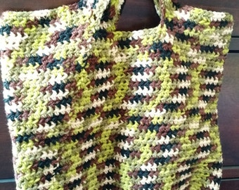 Crocheted Light Green Camo Market Bag