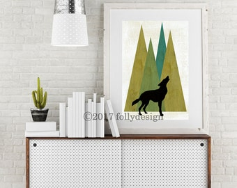 Woodland Wolf art print. Wolf and mountain poster. Wolf home decor.  wolf wall art. Lodge decor. Camping art. Gift for camper.  Outdoor art.