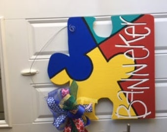 Personalized Autism Wooden Door Hanger