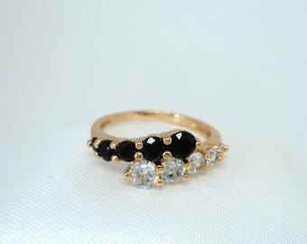 Gold Ring, Zircon Ring, Black and White Ring, Zircon Jewelry, Women's Rings, Gift for Her.