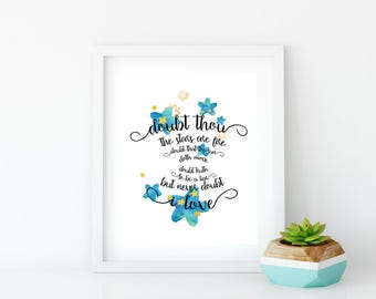 Wall art, Shakespeare quote, Typography, Graphic Art, Poster, Inspirational, Printable