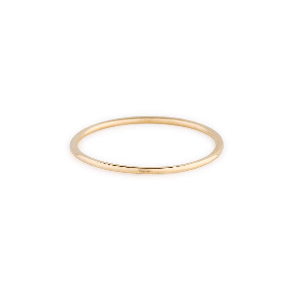 14K Solid Gold Round Wedding Band/ 1 MM Yellow Gold Ring/ 14k Plain Gold Band/ Dainty Stacking Ring/ Simple Delicate Ring/ Thin wedding band
