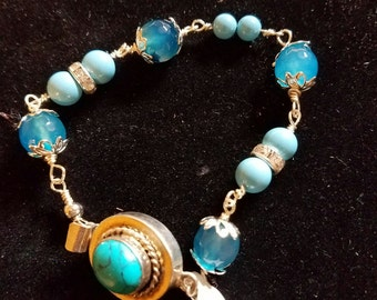 Aqua wire-wrapped bracelet with turquoise closure