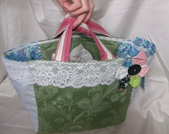 shopping bag in green and blue cotton, bag for bike, cheap shopping bag, shopping bag for the market