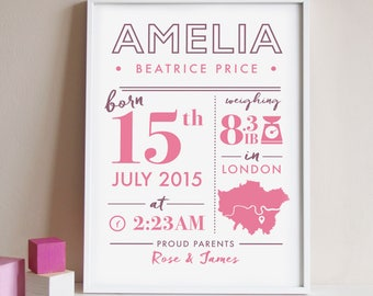 Personalised new birth print, birth stats