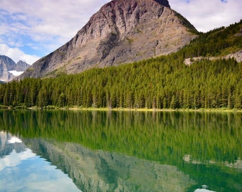 Mountain, hiking, photography, color, Glacier National Park, water, reflection