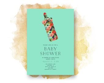 Baby Shower Invitation, BLUE FLORAL  Baby Shower Invitation, Printable, Baby Shower, Watercolor, Illustration, Blue