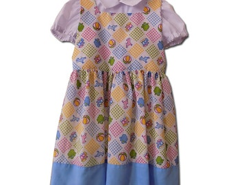 FINAL SALE White and Blue Vintage two piece dress, Size 4T.  PN-005