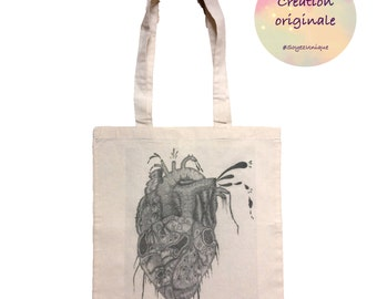 Original Tote bag illustrated by french artist Jess Ifer- Canvas bag - unique draw-rock-shopping bag- heart - anatomy- love- body