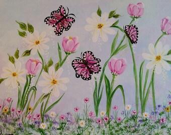 14x18 Whimsical Butterflies in Flower Garden