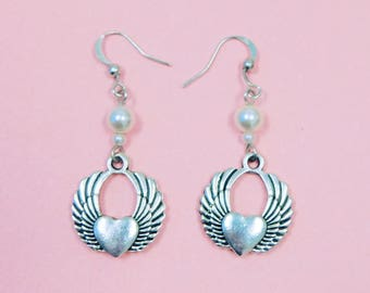 Elegant Winged Heart Earrings